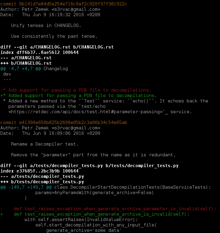 A screenshot with a sample output from git log -p.