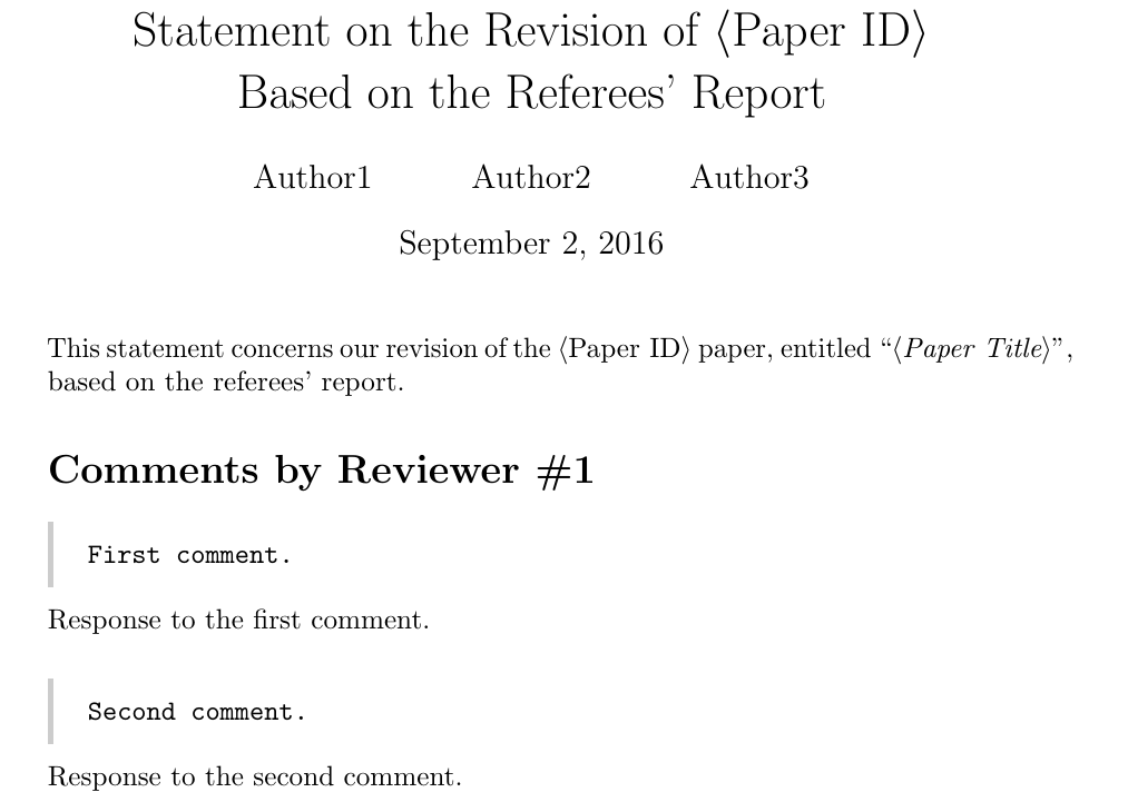 A LaTeX Template For Responses To Referees\' Reports | Petr Zemek